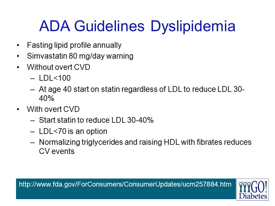 ADA Guidelines Dyslipidemia