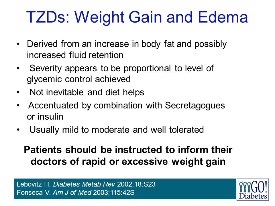 TZDs: Weight Gain and Edema