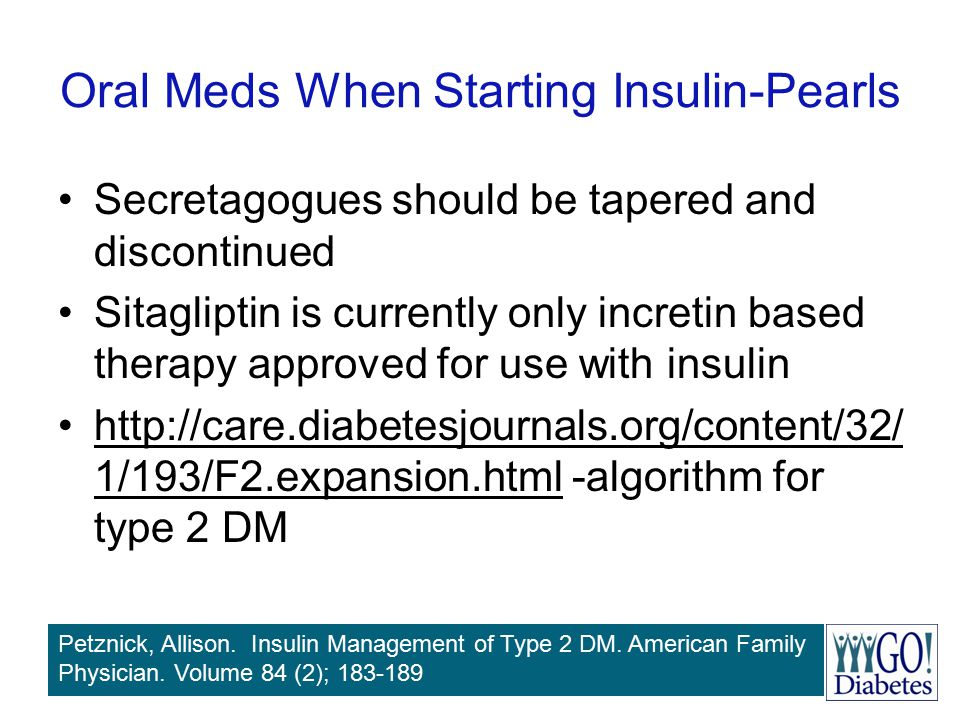 Oral Meds When Starting Insulin-Pearls