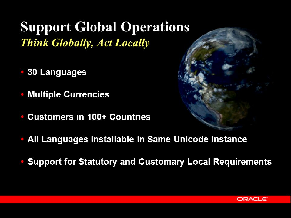 Support Global Operations Think Globally, Act Locally