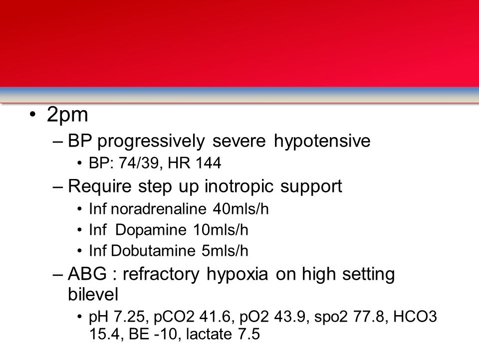 2pm BP progressively severe hypotensive