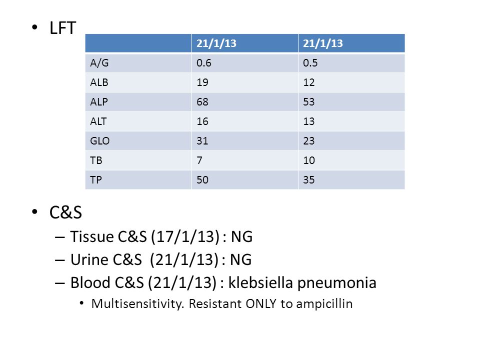 LFT C&S Tissue C&S (17/1/13) : NG Urine C&S (21/1/13) : NG