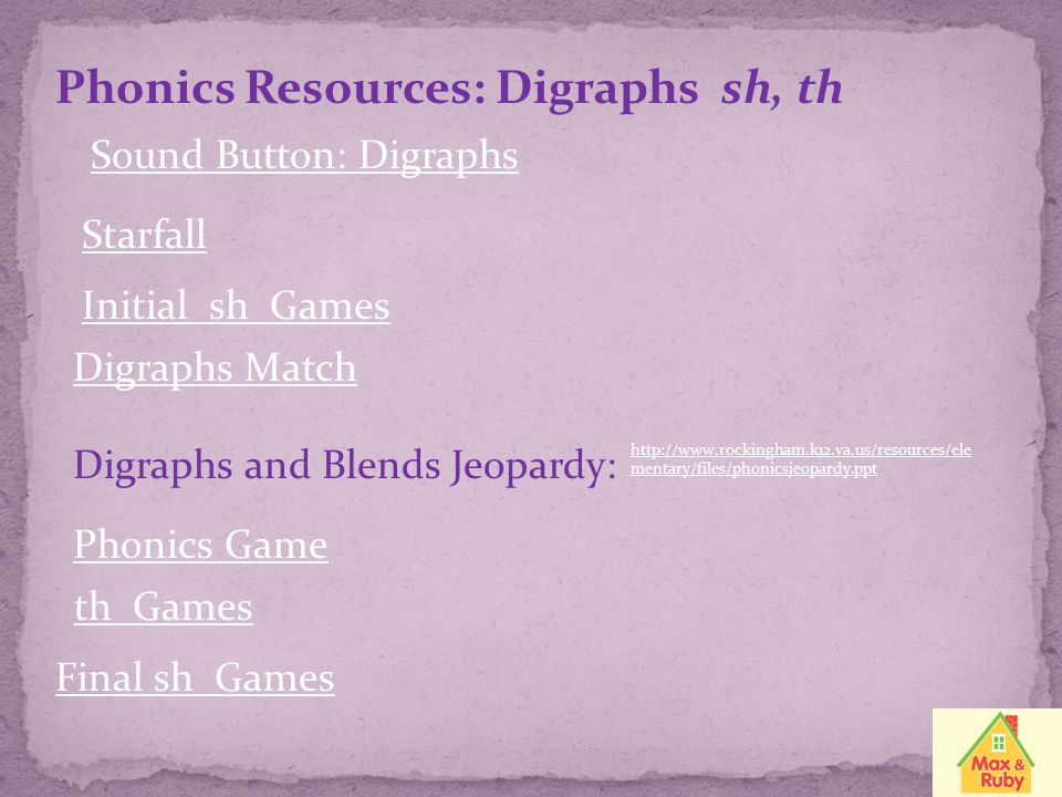 Phonics Resources: Digraphs sh, th