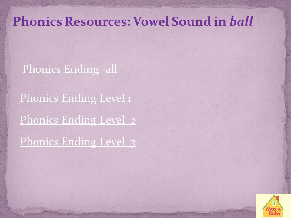 Phonics Resources: Vowel Sound in ball