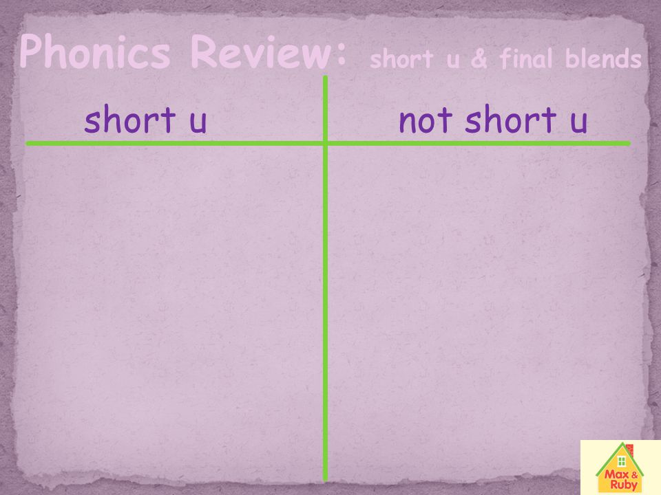 Phonics Review: short u & final blends