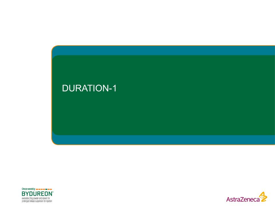 DURATION-1 The following slides present detailed study information and results from the DURATION-1 clinical trial of Bydureon versus exenatide BID.
