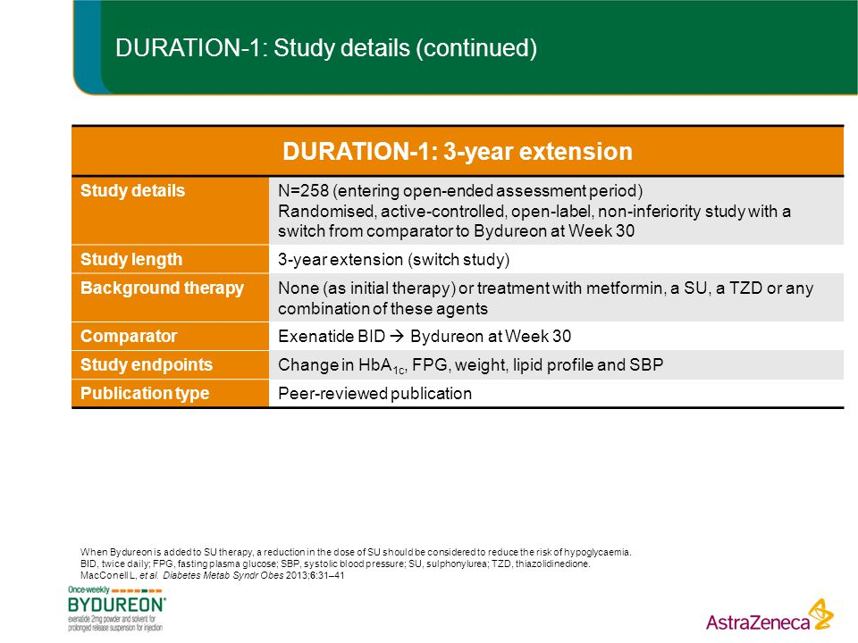 DURATION-1: Study details (continued)
