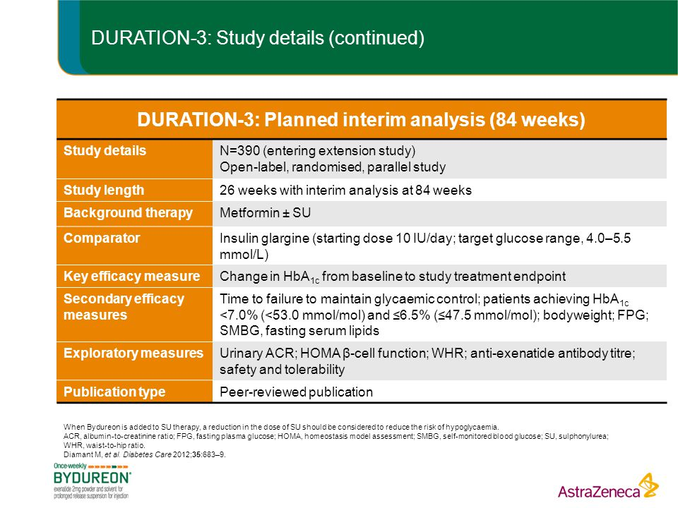 DURATION-3: Study details (continued)