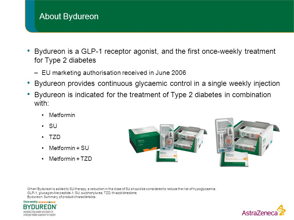 About Bydureon Bydureon is a GLP-1 receptor agonist, and the first once-weekly treatment for Type 2 diabetes.