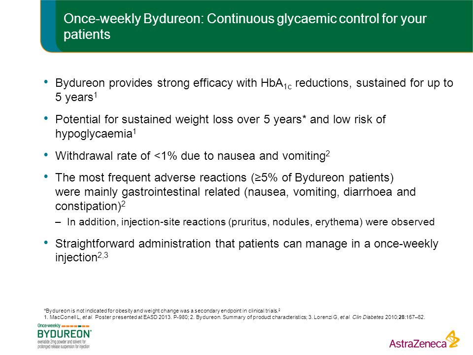 Once-weekly Bydureon: Continuous glycaemic control for your patients