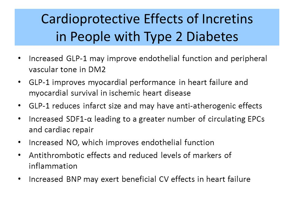 Cardioprotective Effects of Incretins in People with Type 2 Diabetes