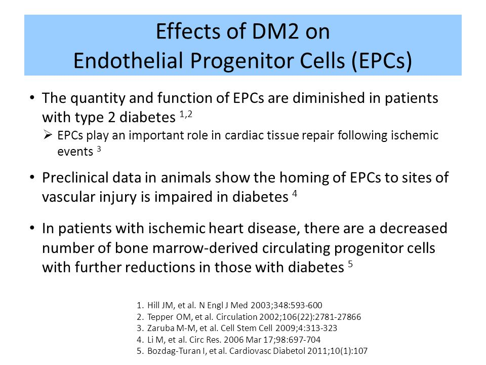Effects of DM2 on Endothelial Progenitor Cells (EPCs)
