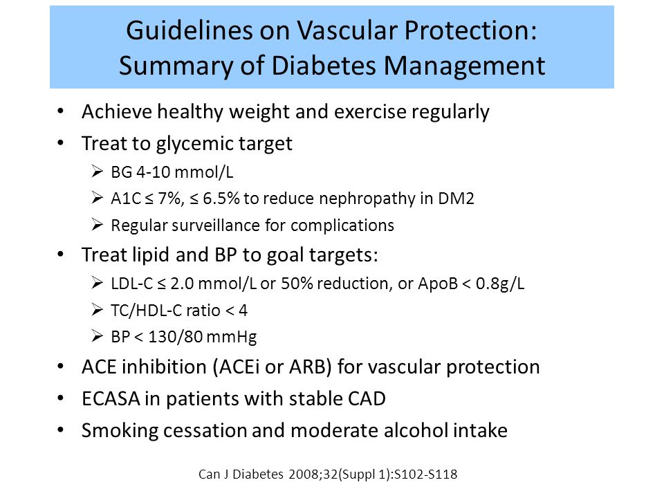 Guidelines on Vascular Protection: Summary of Diabetes Management