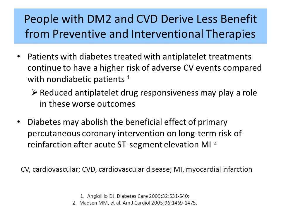 People with DM2 and CVD Derive Less Benefit from Preventive and Interventional Therapies