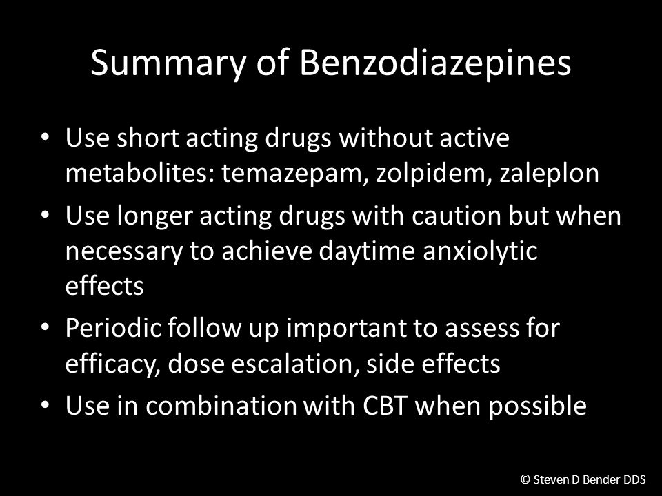 Summary of Benzodiazepines