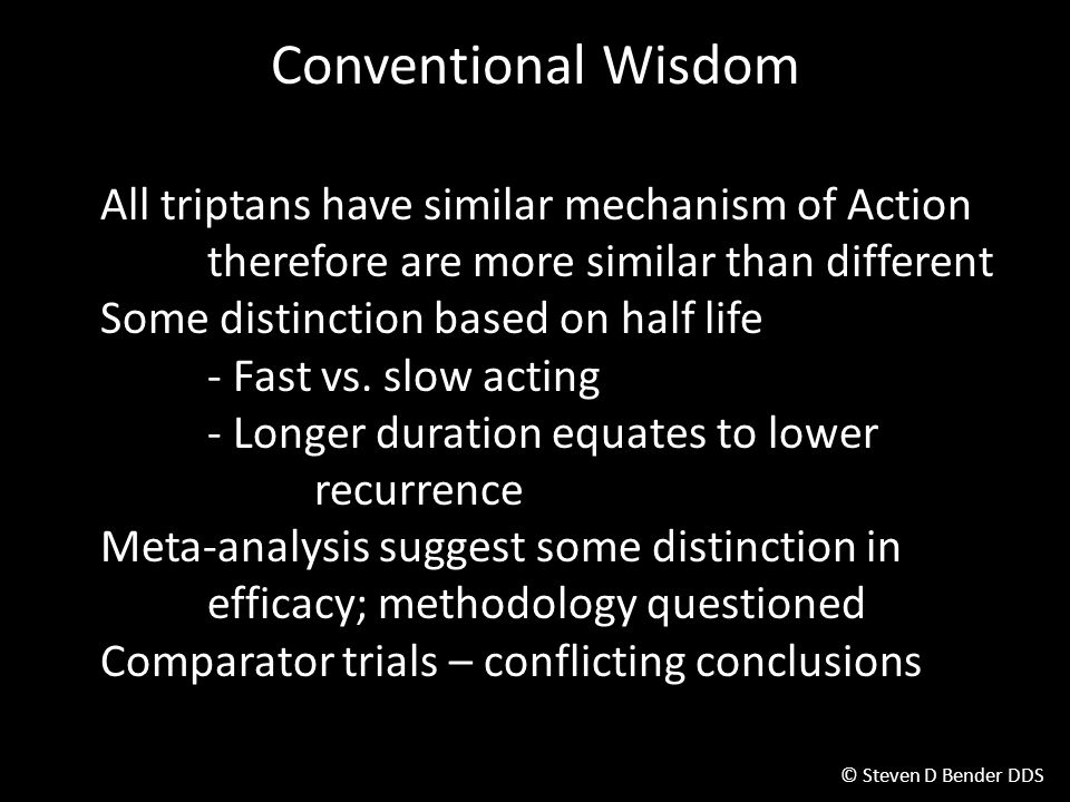 Conventional Wisdom All triptans have similar mechanism of Action