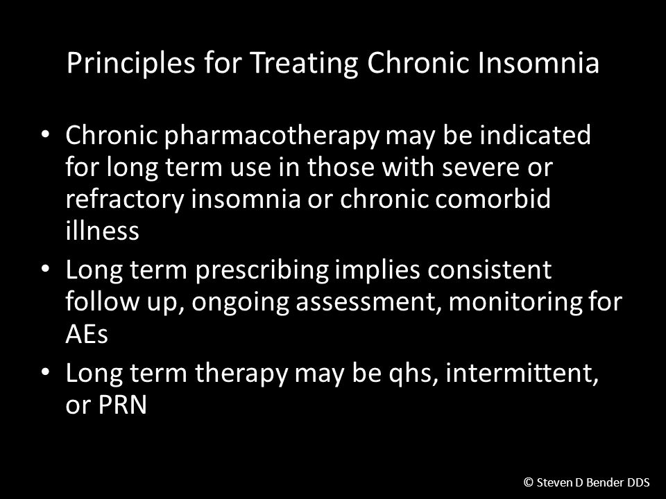 Principles for Treating Chronic Insomnia