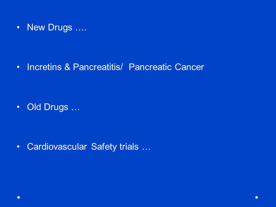 New Drugs …. Incretins & Pancreatitis/ Pancreatic Cancer.