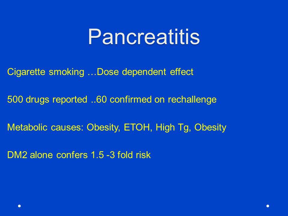 Pancreatitis Cigarette smoking …Dose dependent effect