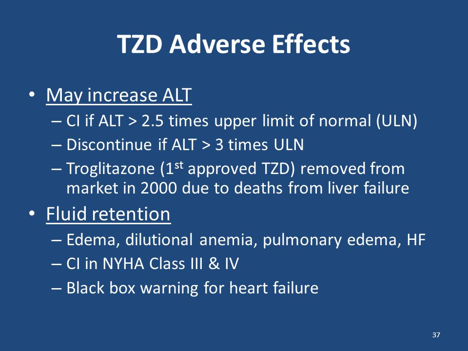 TZD Adverse Effects May increase ALT Fluid retention