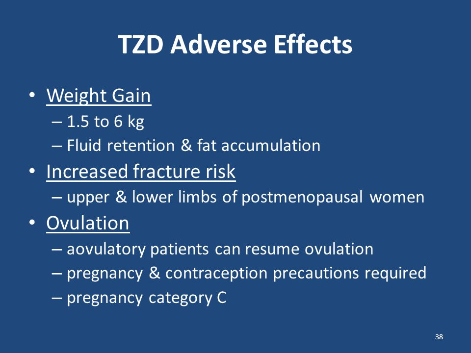 TZD Adverse Effects Weight Gain Increased fracture risk Ovulation