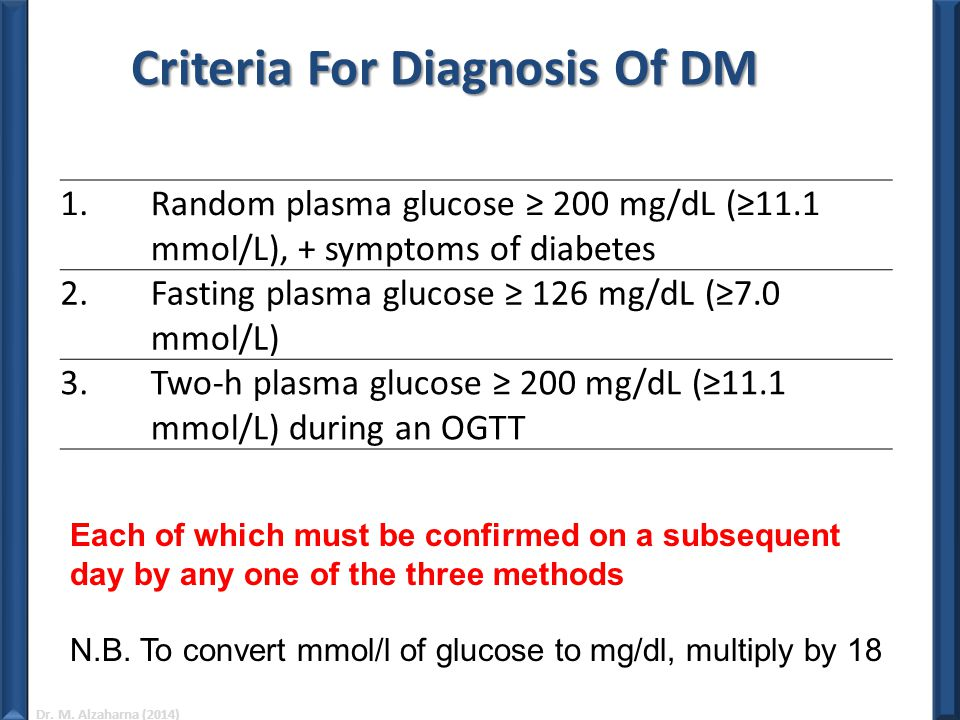 Criteria For Diagnosis Of DM