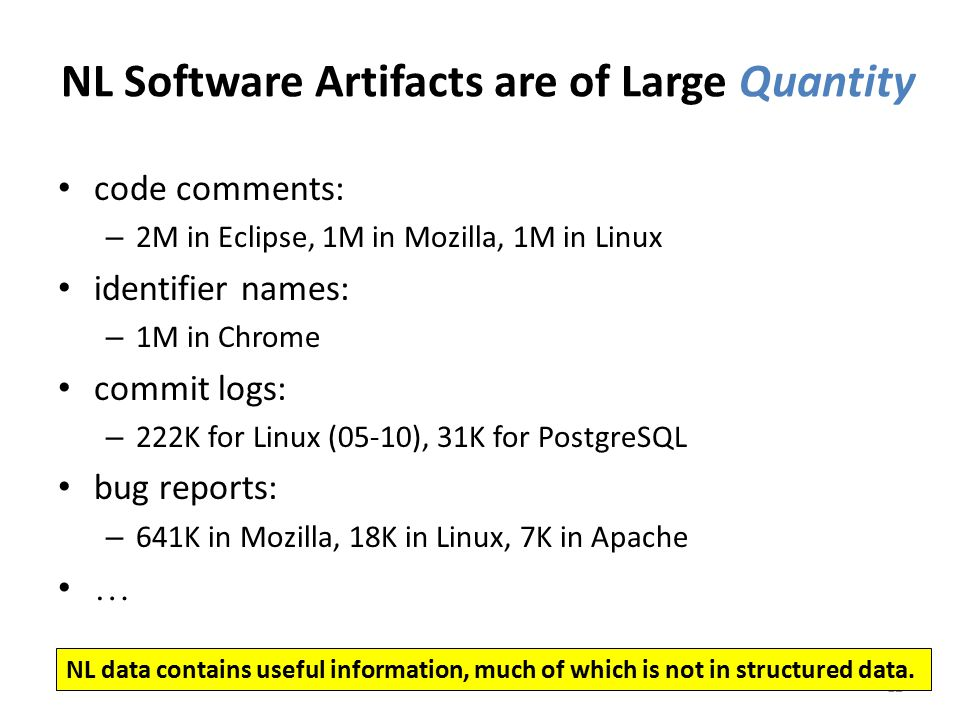 NL Software Artifacts are of Large Quantity