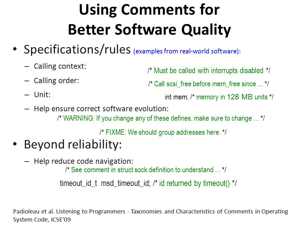 Using Comments for Better Software Quality
