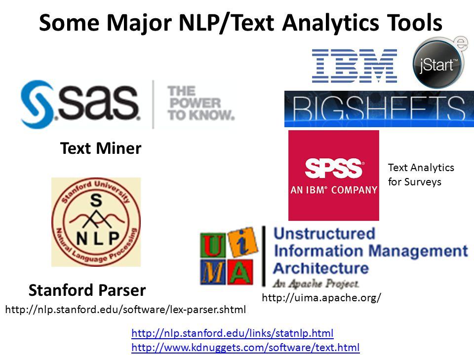 Some Major NLP/Text Analytics Tools