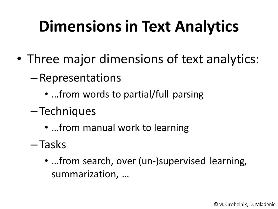 Dimensions in Text Analytics