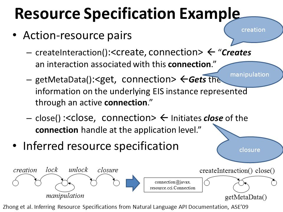 Resource Specification Example