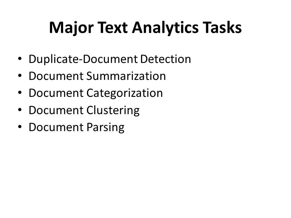 Major Text Analytics Tasks