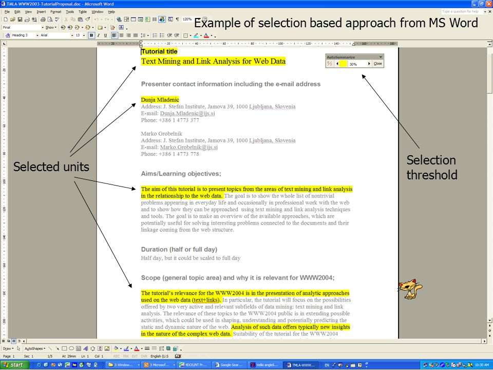 Example of selection based approach from MS Word