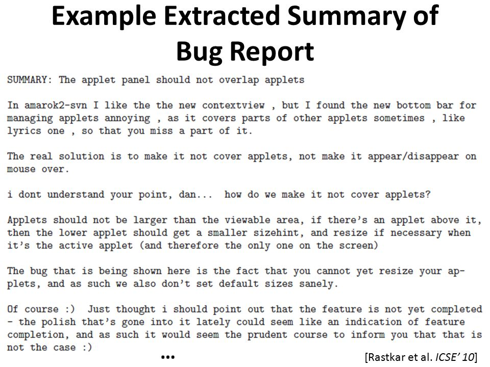 Example Extracted Summary of Bug Report