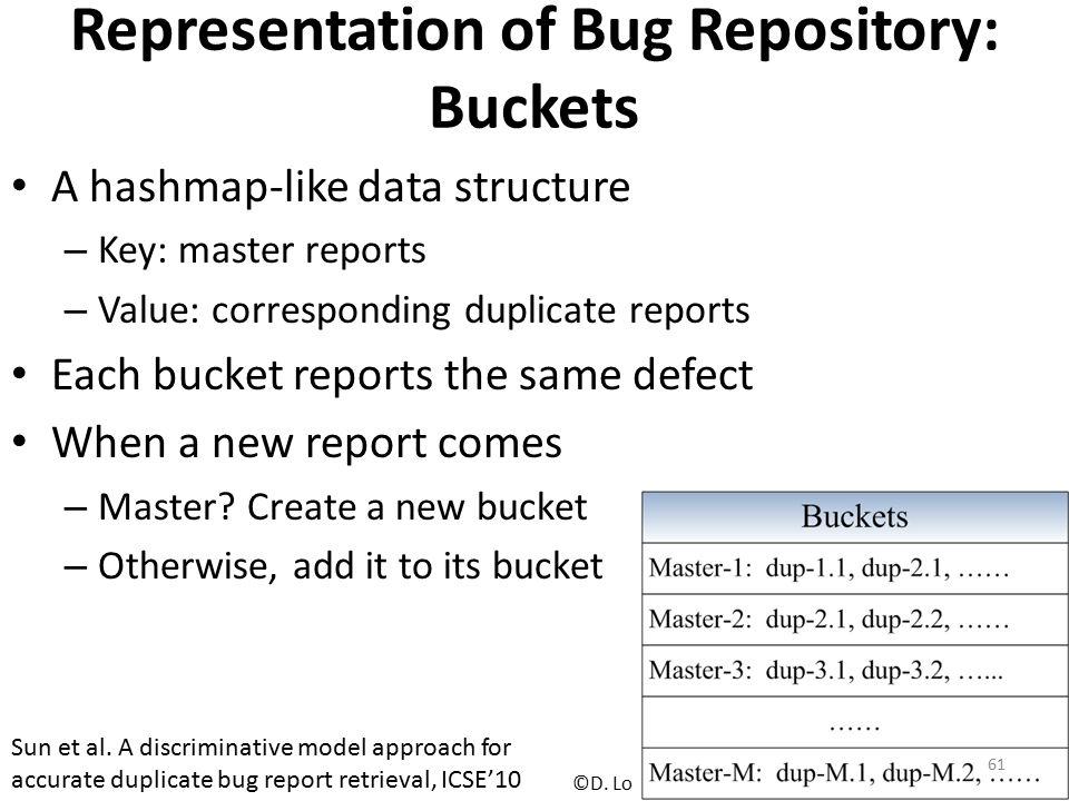 Representation of Bug Repository: Buckets