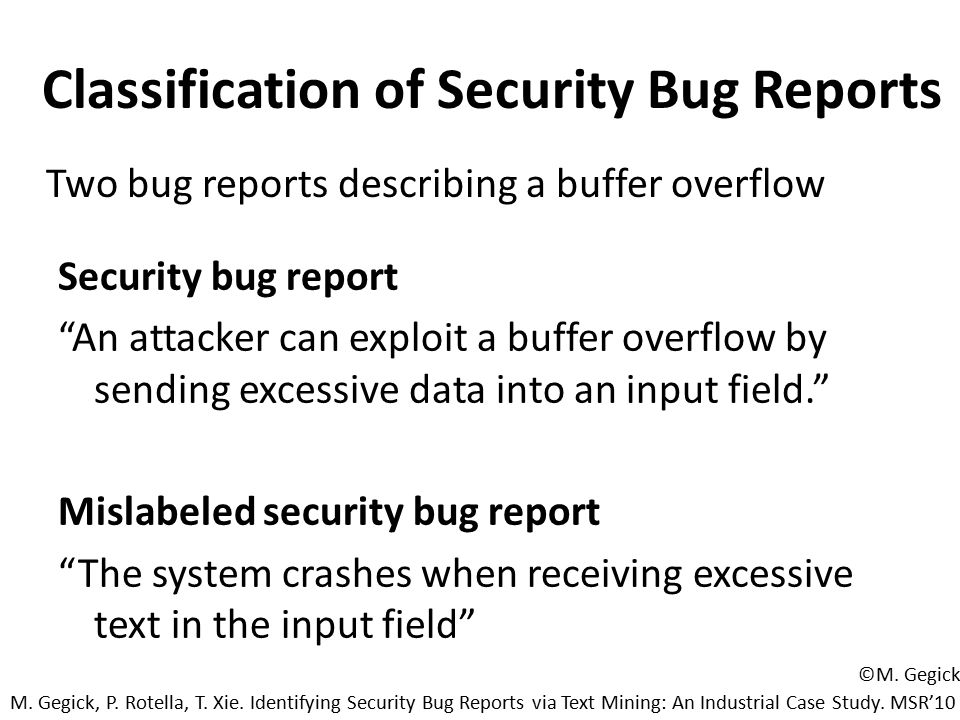 Classification of Security Bug Reports