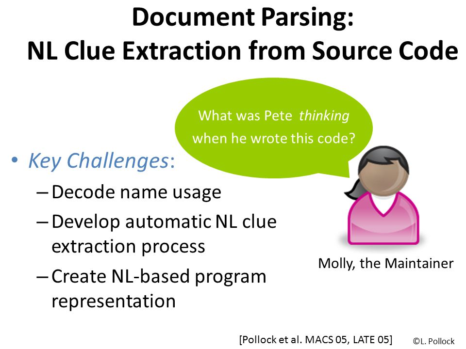 Document Parsing: NL Clue Extraction from Source Code