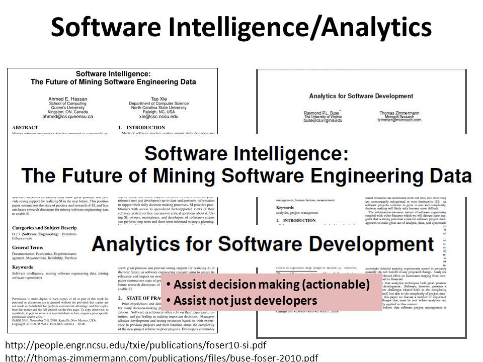 Software Intelligence/Analytics