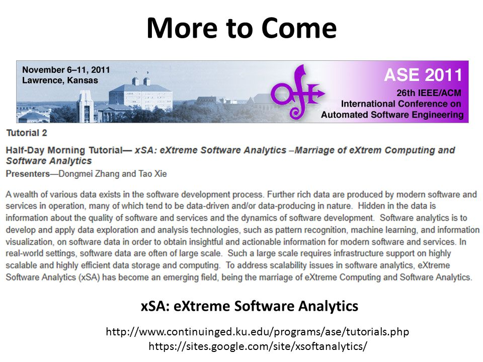 xSA: eXtreme Software Analytics
