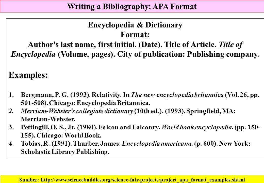 Writing a Bibliography: APA Format Encyclopedia & Dictionary