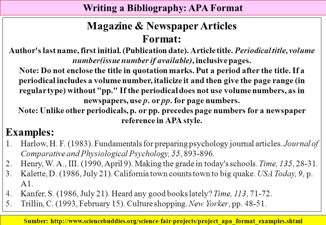 writing a bibliography apa format for books