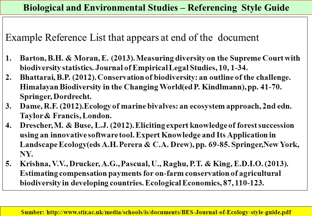 Biological and Environmental Studies – Referencing Style Guide