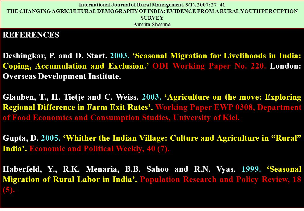 International Journal of Rural Management, 3(1), 2007: 27–41