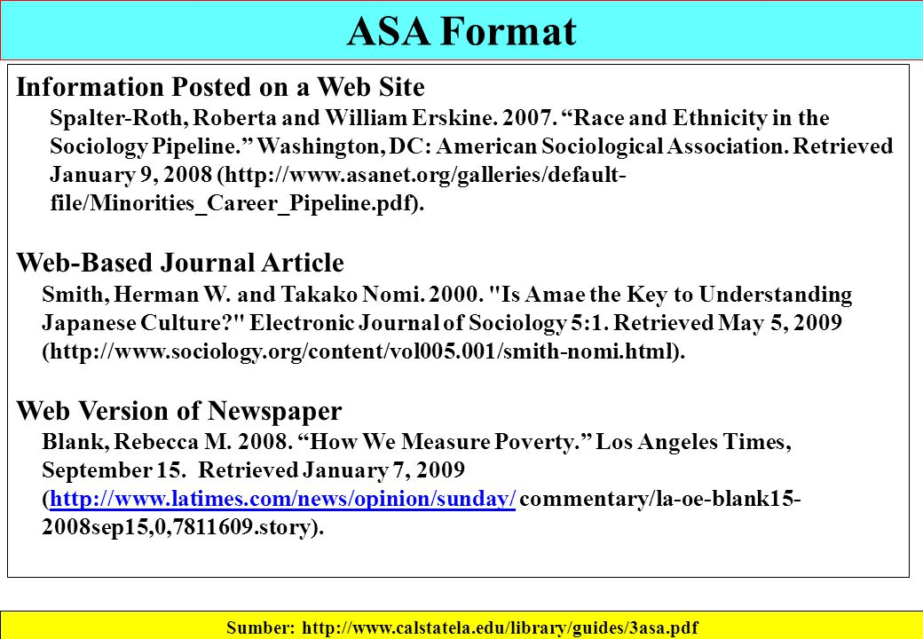 American sociological association research paper format
