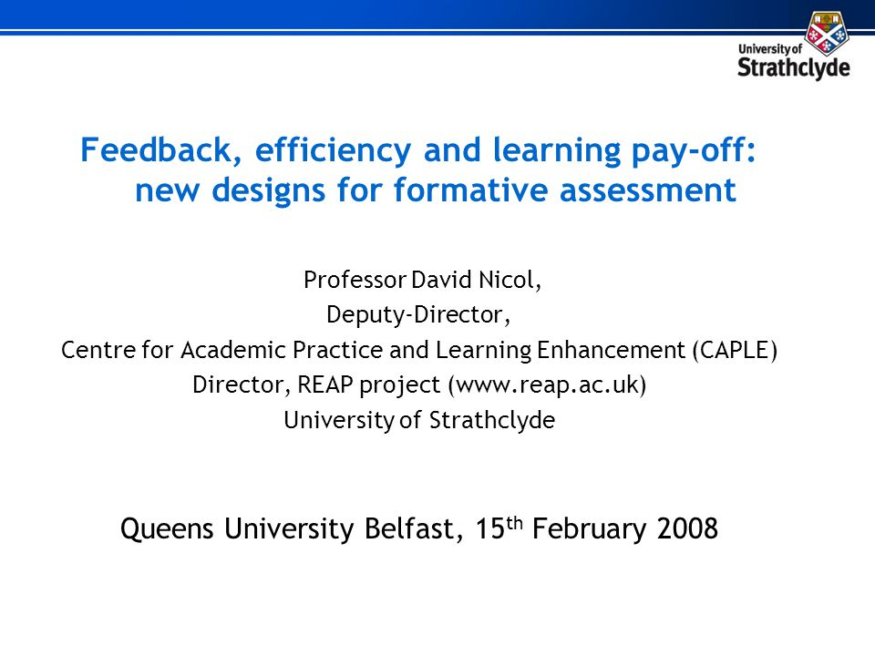 Feedback, efficiency and learning pay-off: new designs for formative assessment