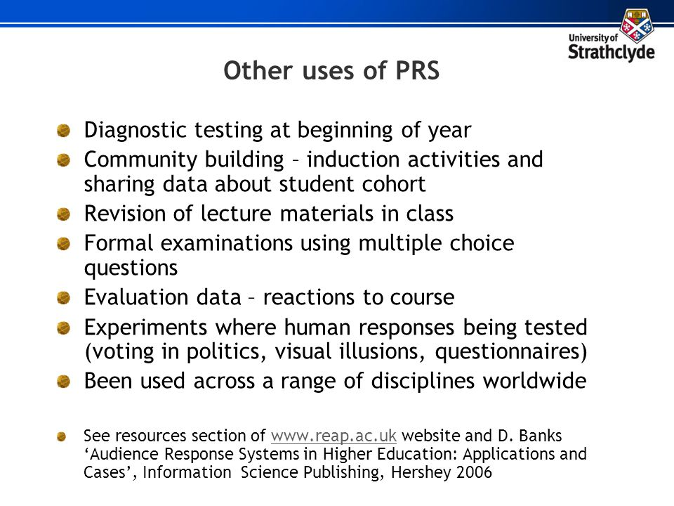 Other uses of PRS Diagnostic testing at beginning of year
