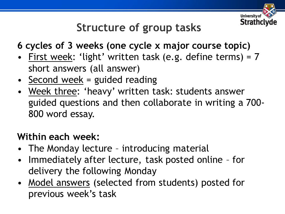 Structure of group tasks