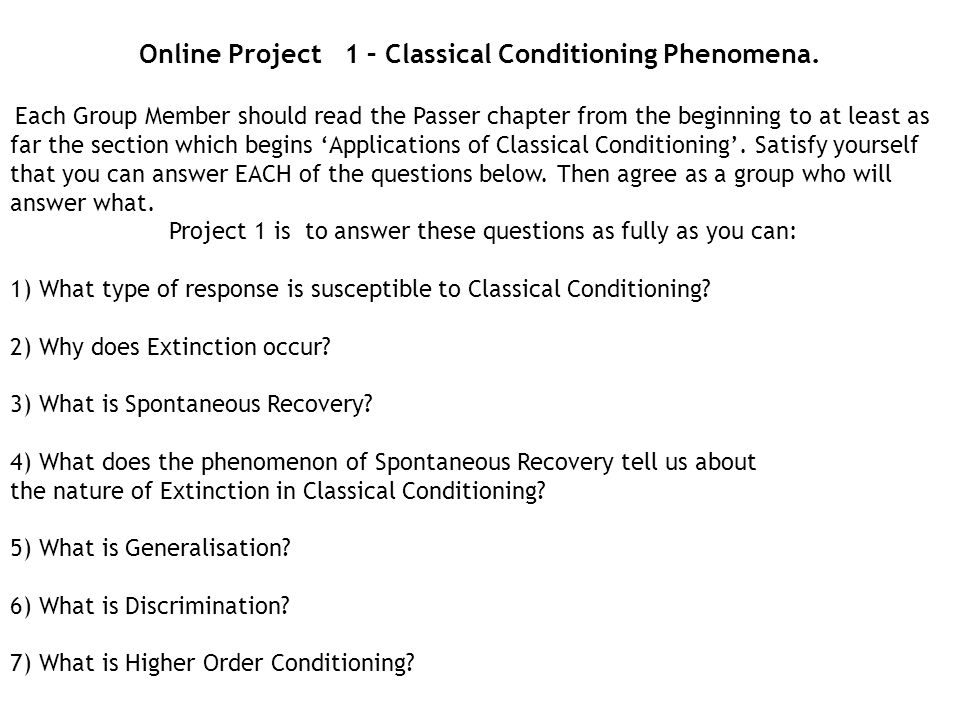 Online Project 1 – Classical Conditioning Phenomena.