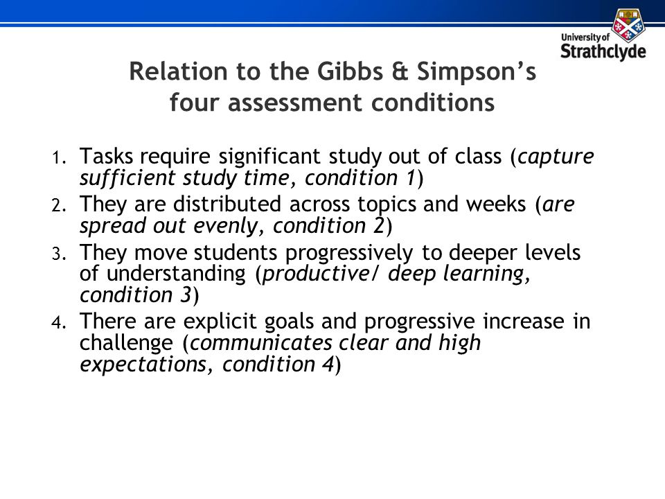 Relation to the Gibbs & Simpson's four assessment conditions