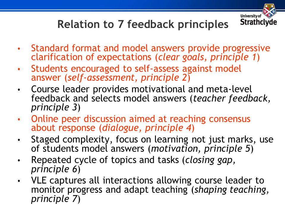 Relation to 7 feedback principles